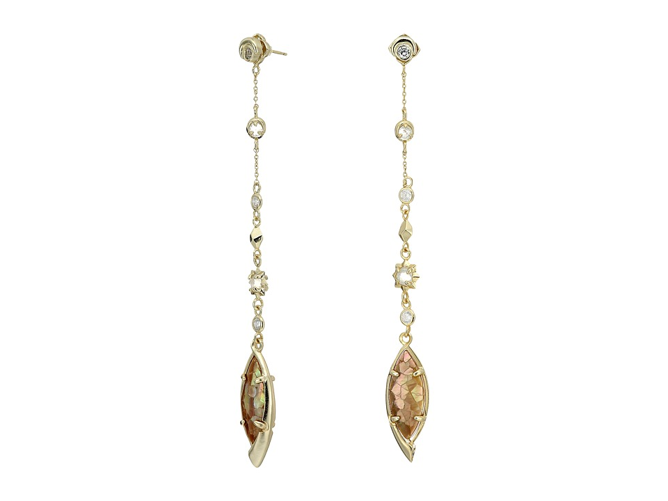 Kendra Scott - Lane Jacket Earrings (Gold/Crackle Brown Mother Of Pearl/White CZ) Earring