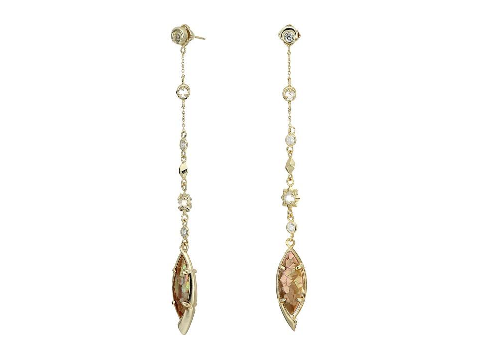 Kendra Scott - Lane Jacket Earrings (Gold/Crackle Brown Mother Of Pearl/White CZ) Earring