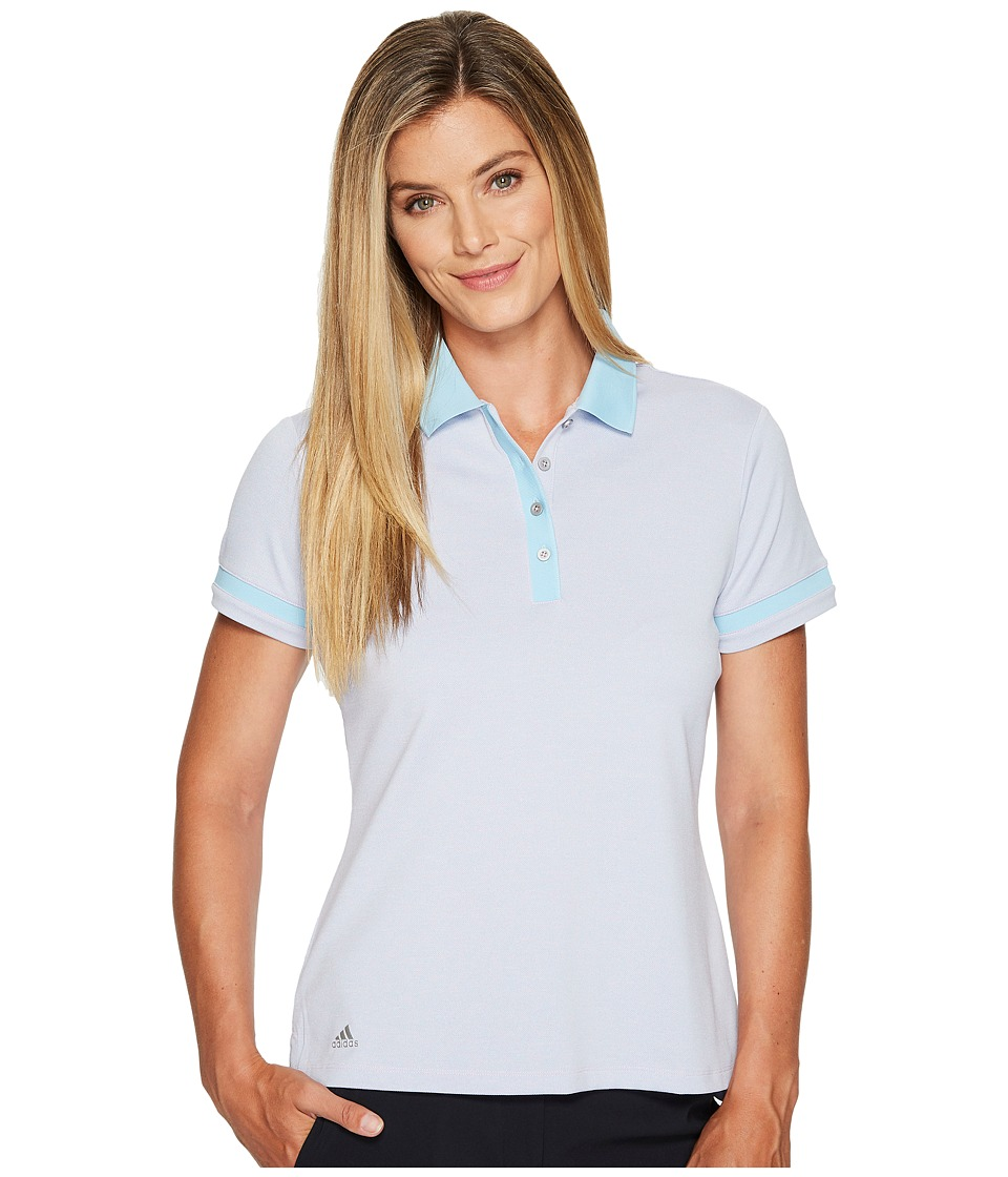 adidas Golf - Three Toned Pique Polo (Pink Glow/Ice Blue) Women's Short Sleeve Pullover