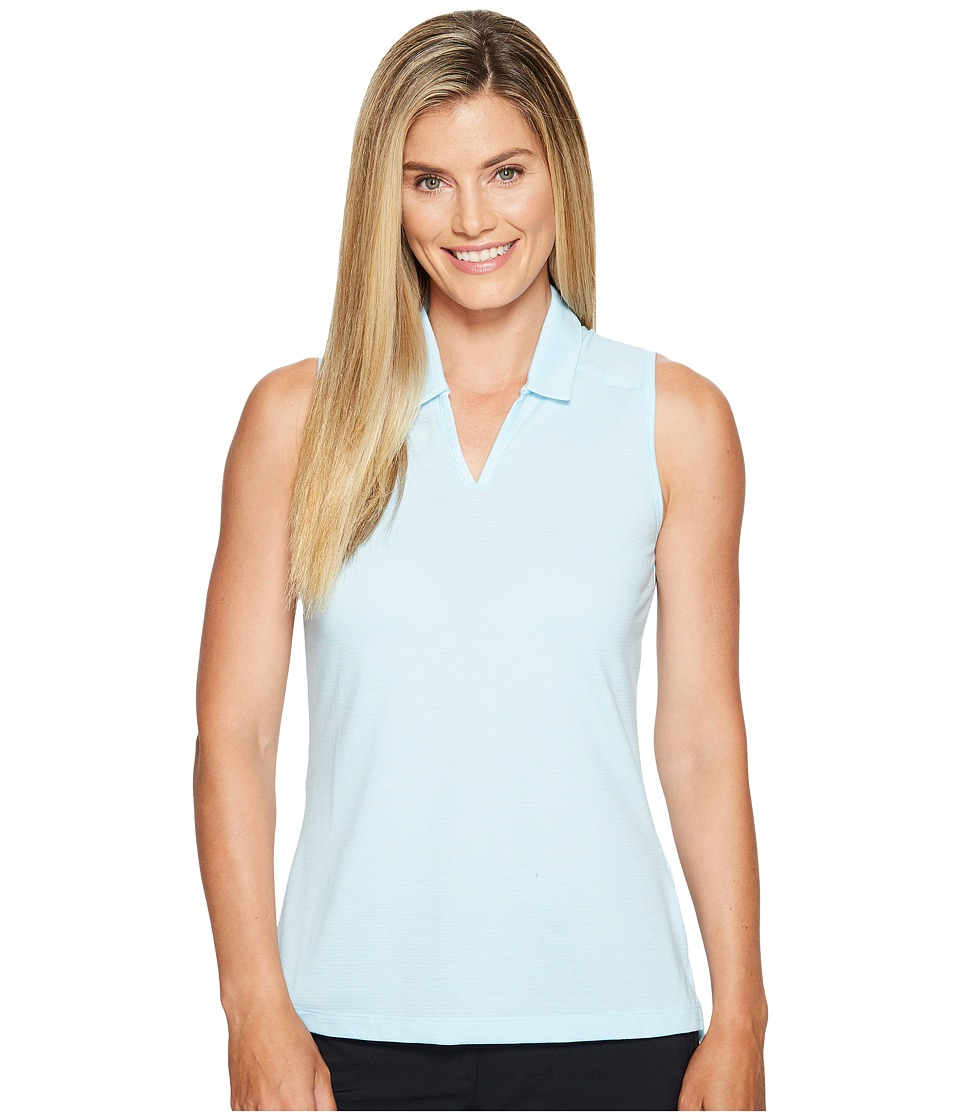 adidas Golf - Tonal Stripe Sleeveless Polo (Icey Blue/White) Women's Clothing