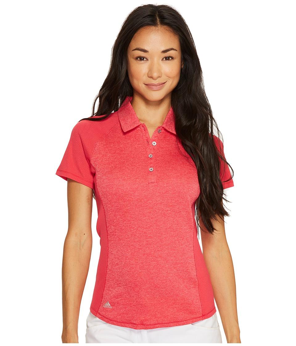 adidas Golf - Heathered Mesh Short Sleeve Polo (Energy Pink Heather) Women's Clothing