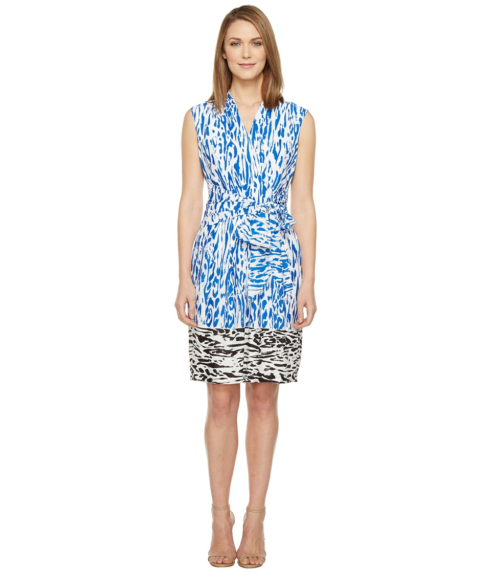Ellen Tracy - Animal Print Dress (Cobalt/Black Multi) Women's Dress