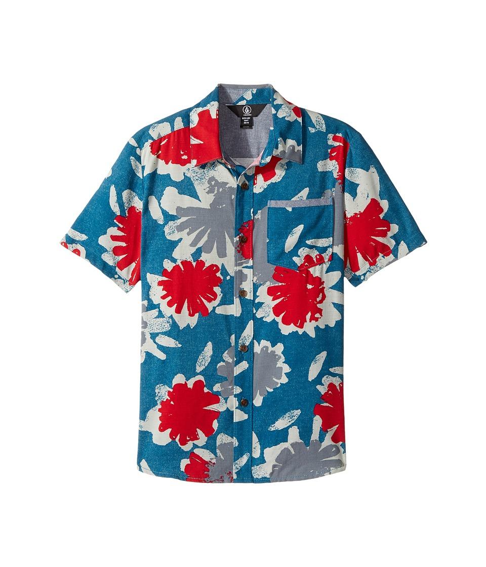 Volcom Kids - Ballast Short Sleeve Shirt (Big Kids) (Flight Blue) Boy's Short Sleeve Button Up