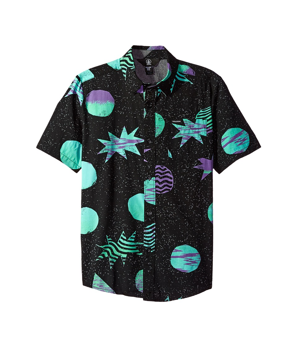 Volcom Kids - Cosmic Short Sleeve Shirt (Big Kids) (Black) Boy's Short Sleeve Button Up