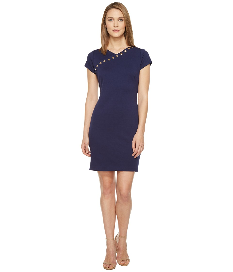 Ellen Tracy - Ponte Dress with Hardware (Navy) Women's Dress