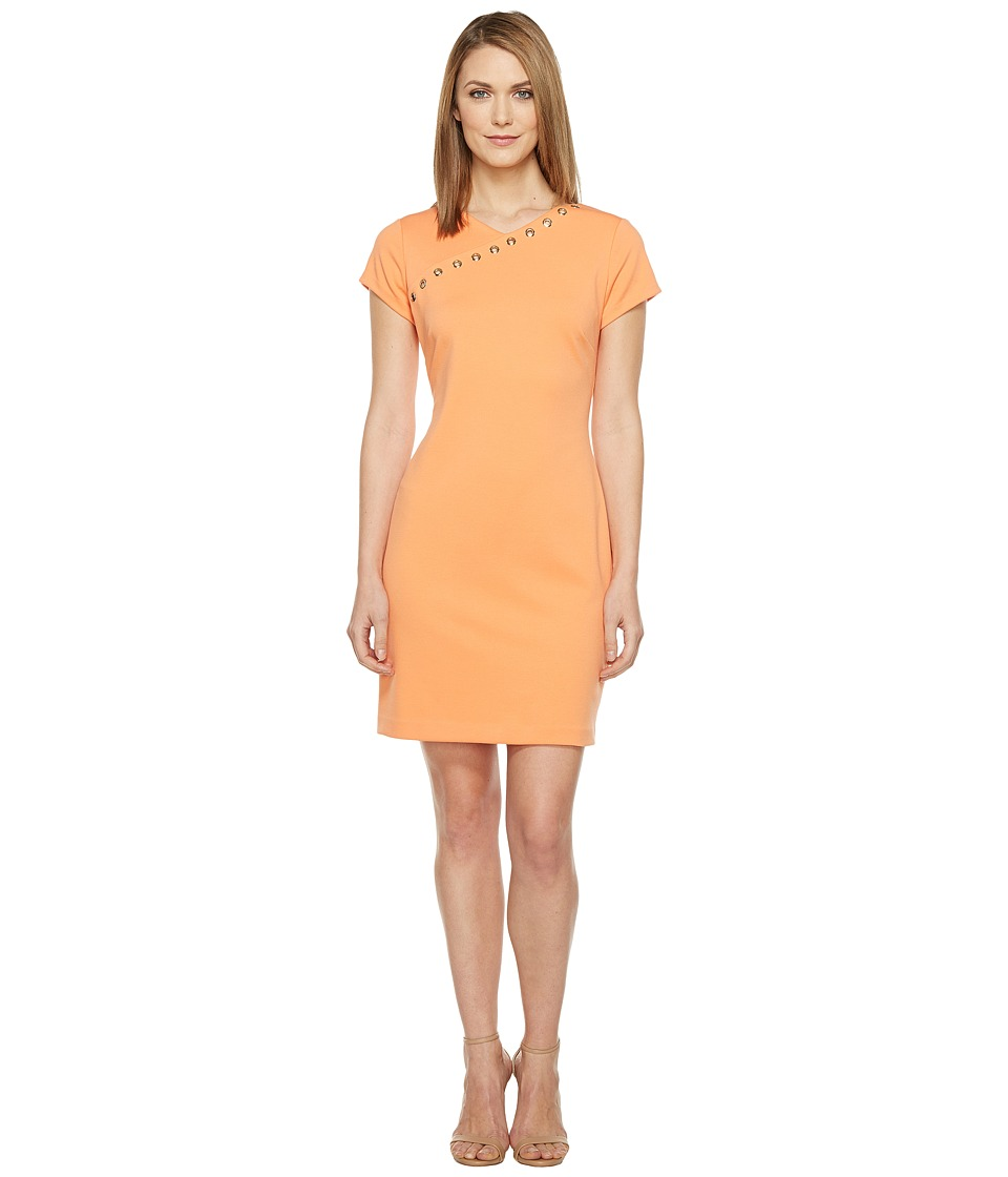 Ellen Tracy - Ponte Dress with Hardware (Mango) Women's Dress