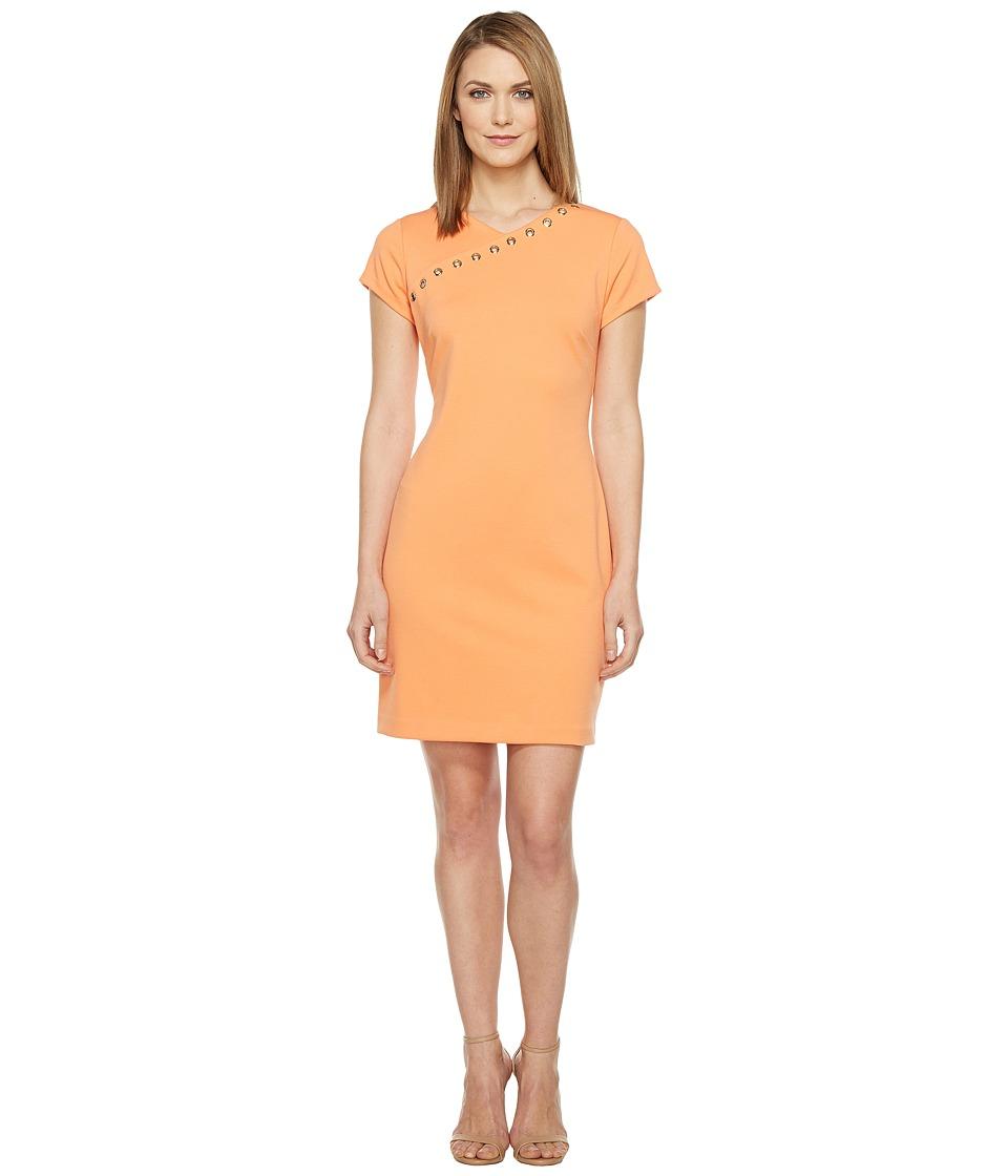 Ellen Tracy - Ponte Dress with Hardware (Mango) Women's Dress