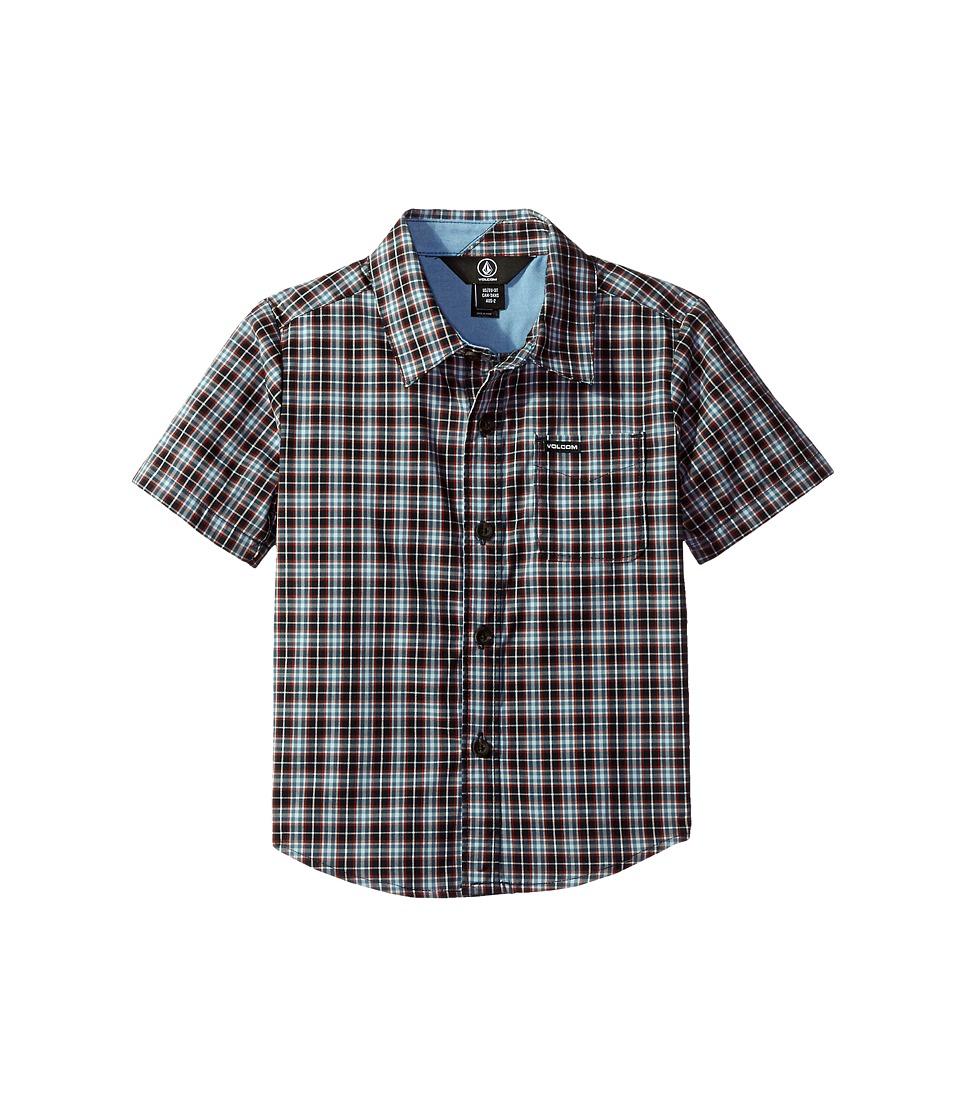 Volcom Kids - Harper Short Sleeve Shirt (Toddler/Little Kids) (Navy) Boy's Short Sleeve Button Up