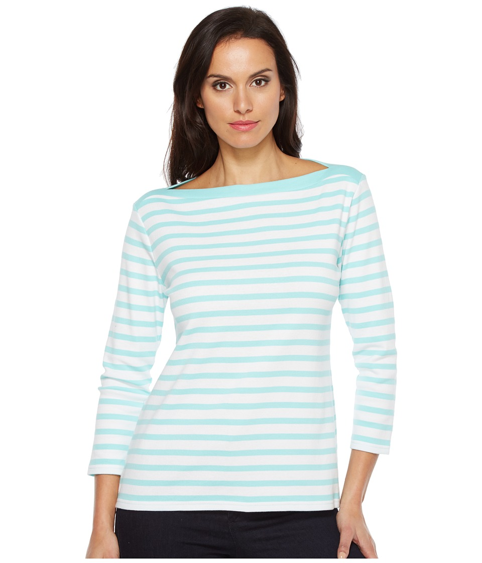 Pendleton - Trimmed Stripe Tee (Aqua Sky/White Stripe) Women's T Shirt