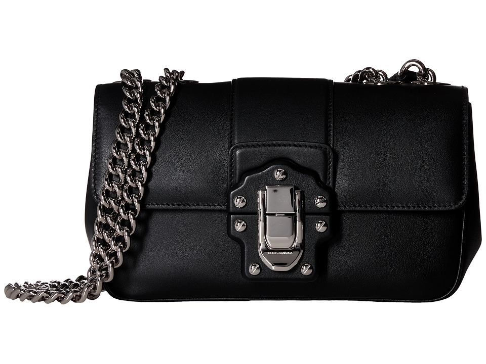 Dolce & Gabbana - Lucia Bag with Gold Chain (Black Leather) Handbags