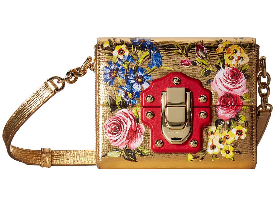 Dolce & Gabbana - Mini Lucia Square Bag (Gold Leather/Rose) Handbags