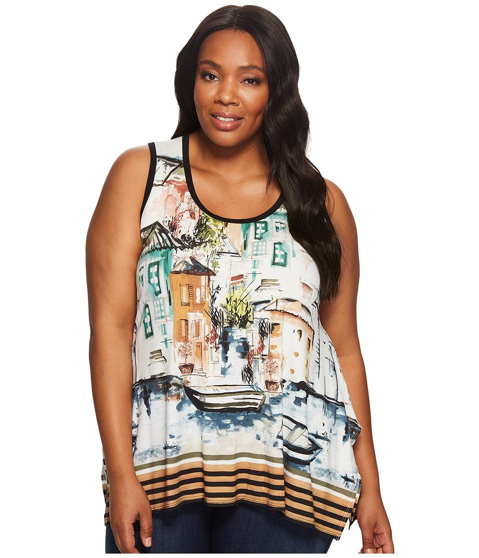 Karen Kane Plus - Plus Size Venice Cityscape Handkerchief Tank Top (Print) Women's Sleeveless