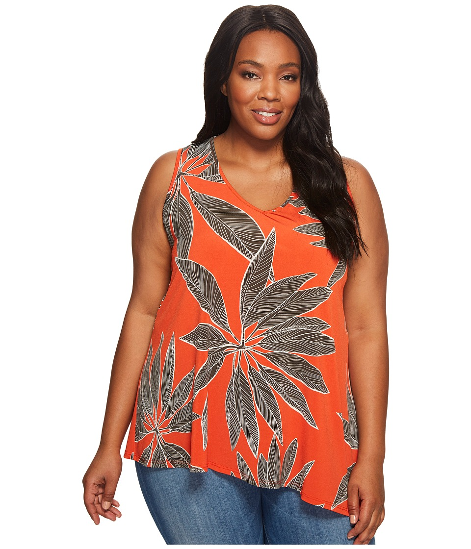 Karen Kane Plus - Plus Size V-Neck Asymmetric Tank Top (Print) Women's Sleeveless