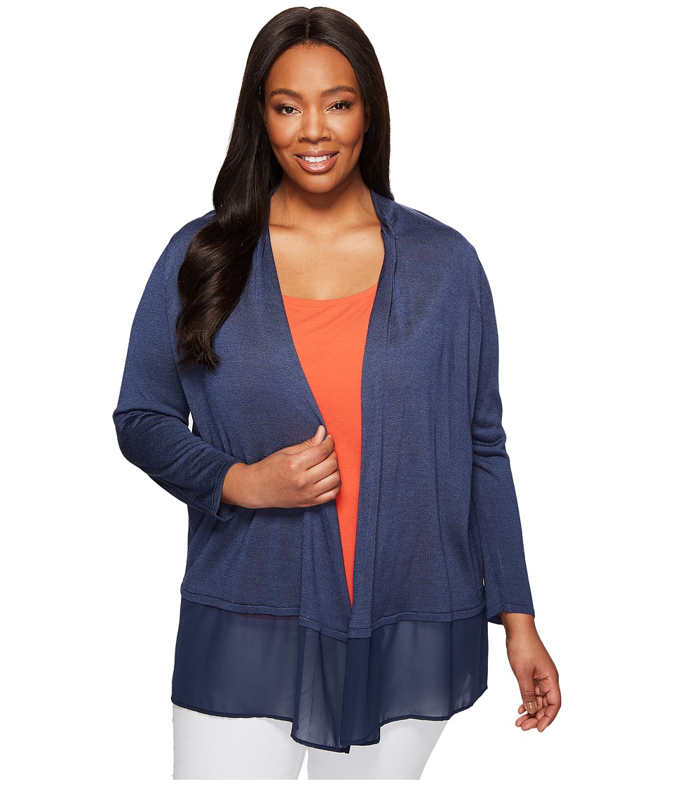 NIC+ZOE - Plus Size Chiffon Trim Cardy (Indigo) Women's Sweater