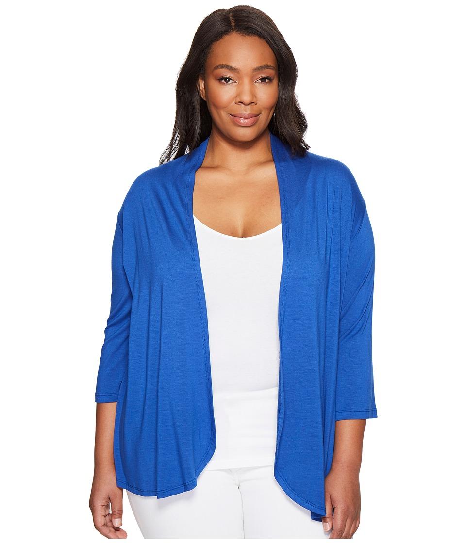 Karen Kane Plus - Plus Size Pleat Back Cardigan (Iris) Women's Sweater