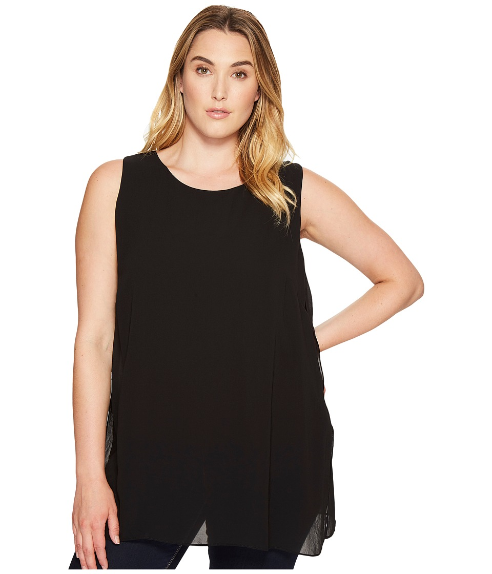 Karen Kane Plus - Plus Size Crossover Slit Tunic (Black) Women's Blouse