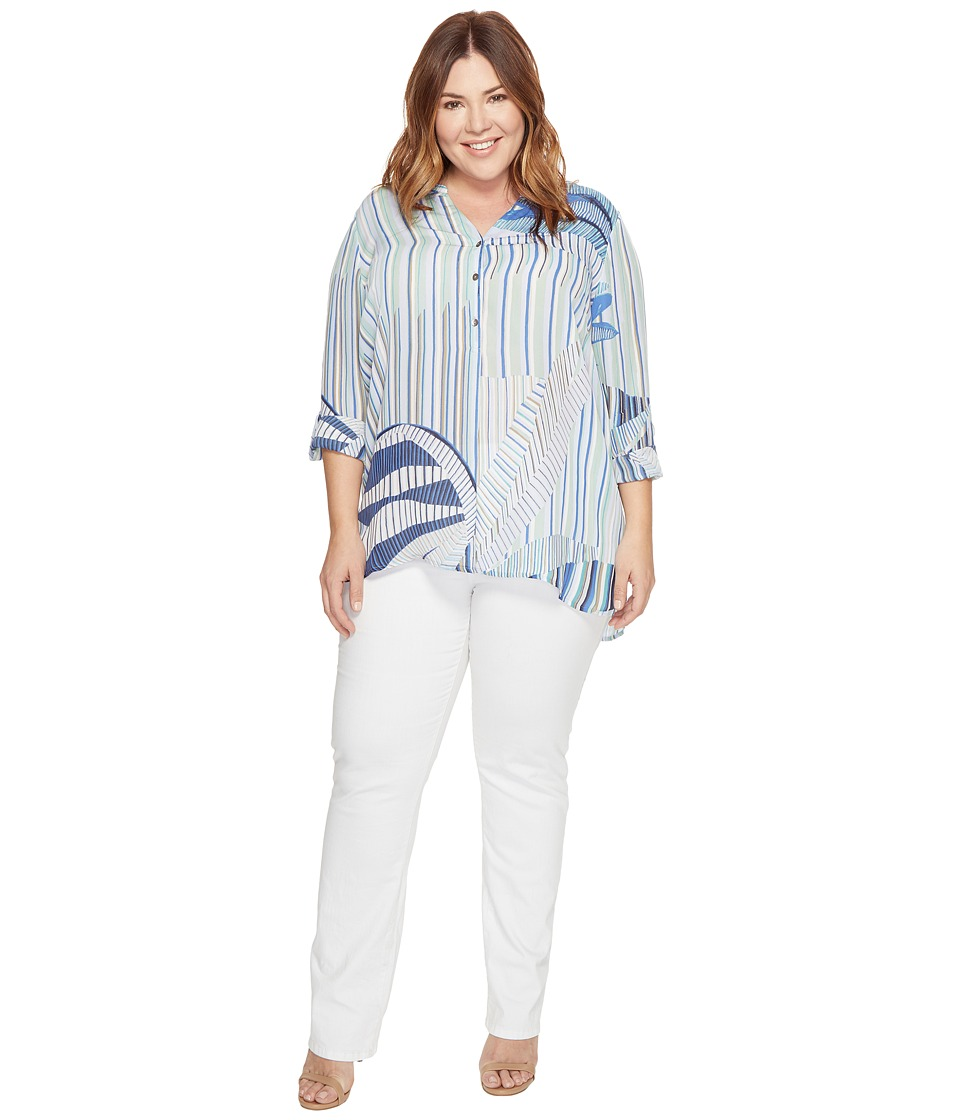 NIC+ZOE - Plus Size Palm Lines Top (Multi) Women's Clothing