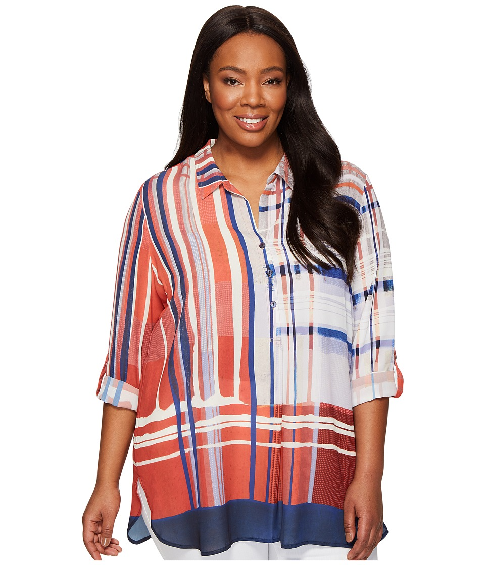 NIC+ZOE - Plus Size Painted Plaid Top (Multi) Women's Clothing