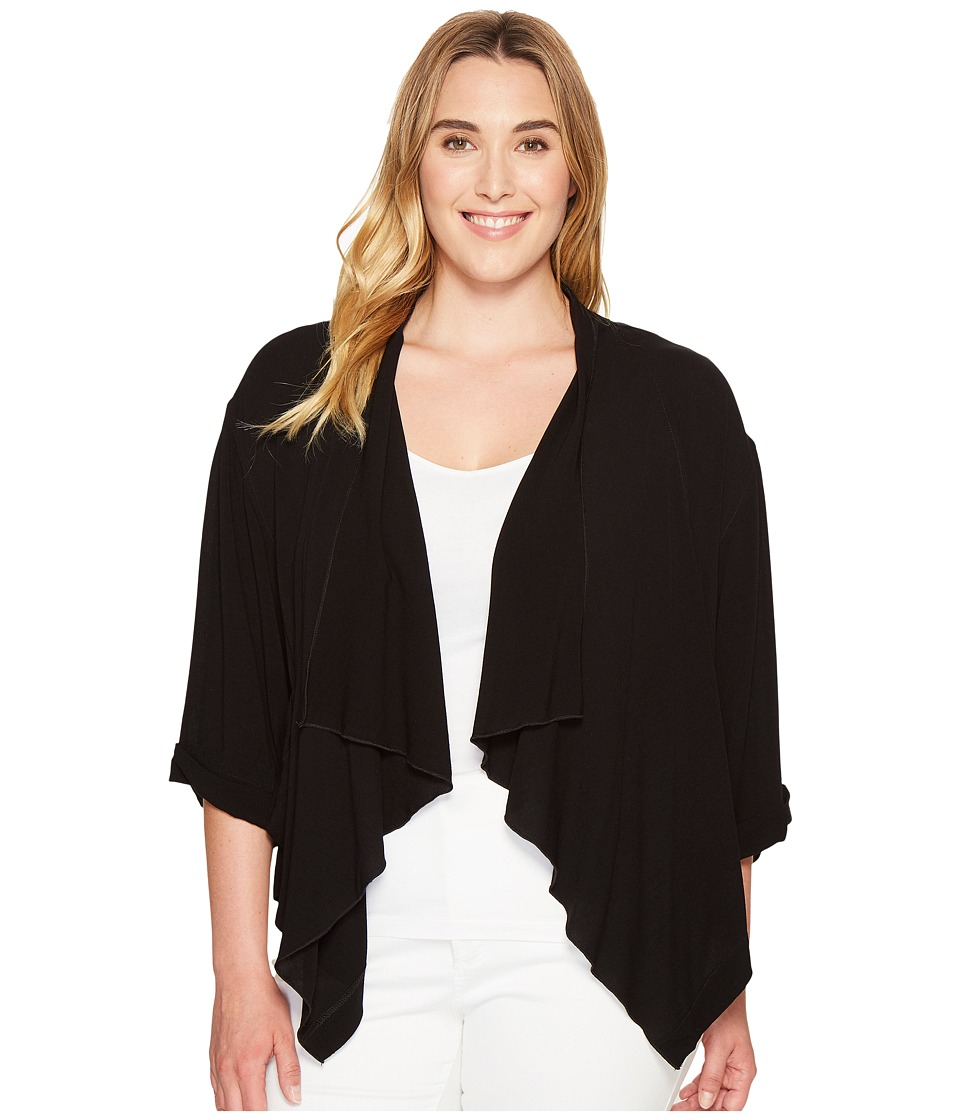 Karen Kane Plus - Plus Size Drape Jacket (Black) Women's Coat