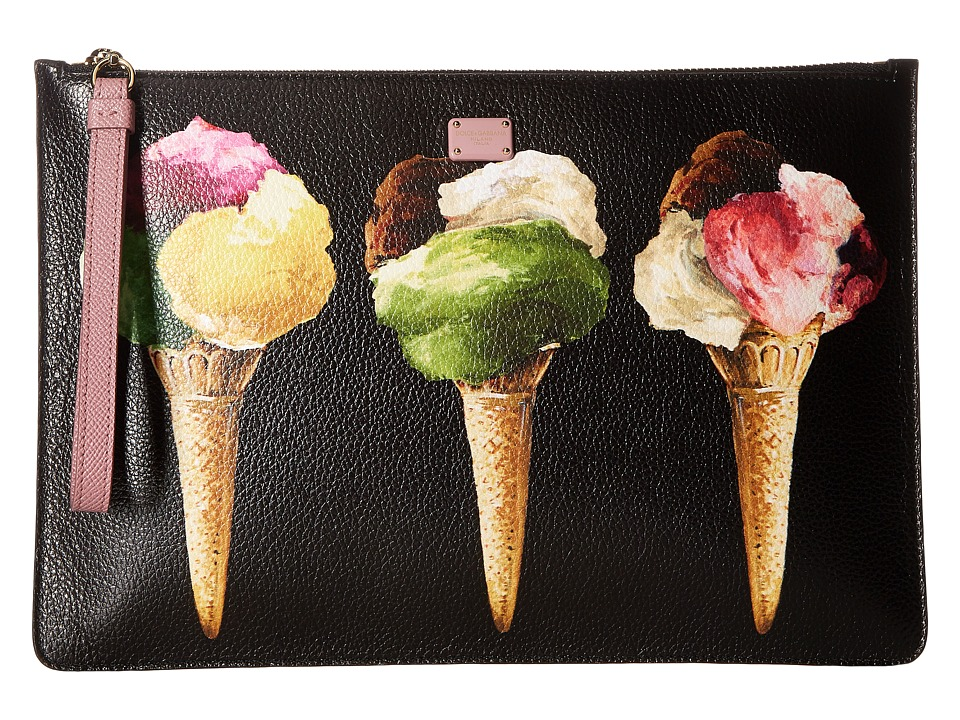 Dolce & Gabbana - Leather Gelato Pouch (Black/Icecream) Travel Pouch
