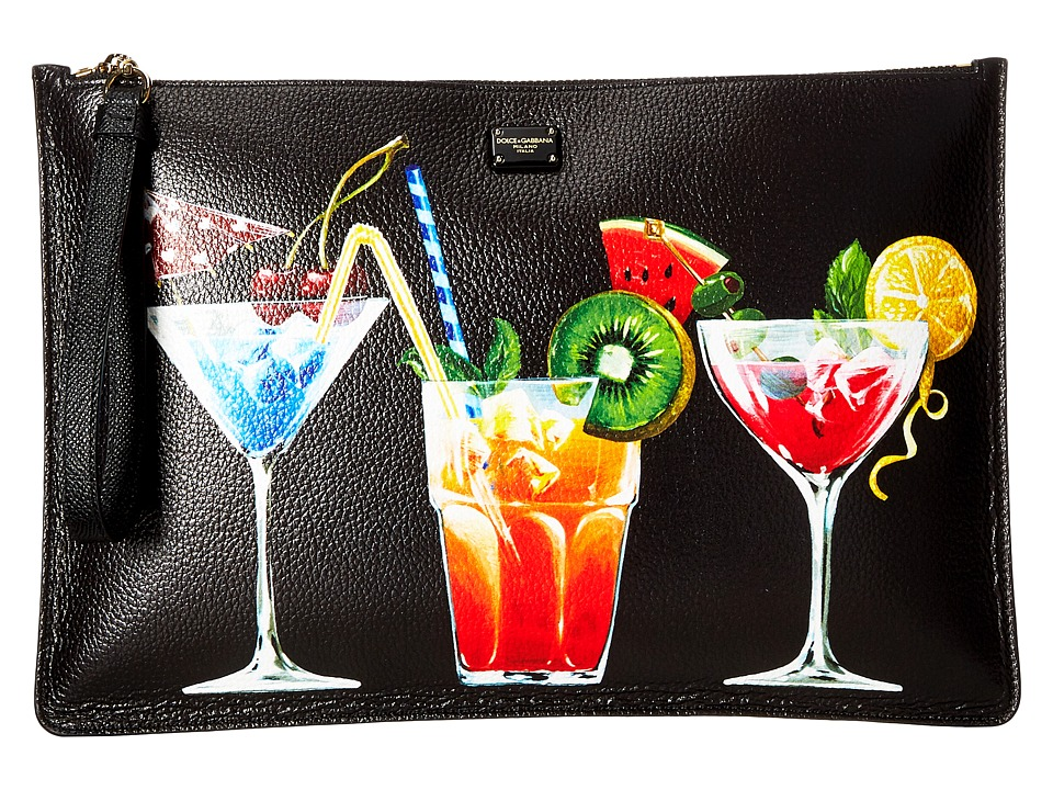 Dolce & Gabbana - Leather Cocktail Pouch (Black/Drink) Travel Pouch