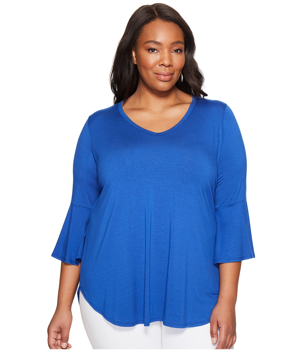 Karen Kane Plus - Plus Size V-Neck Bell Sleeve Tee (Iris) Women's T Shirt
