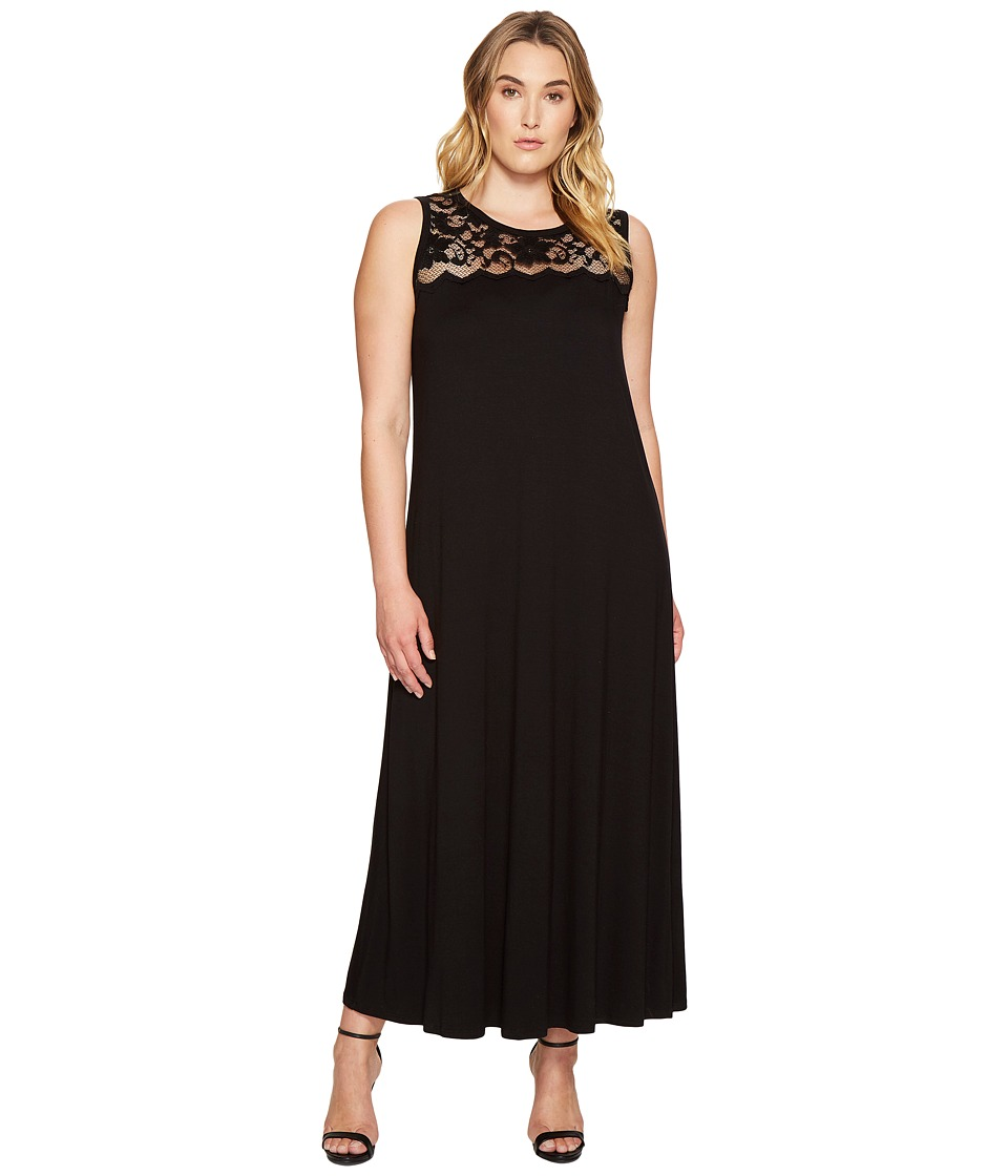 Karen Kane Plus - Plus Size Lace Yoke Maxi Dress (Black) Women's Dress