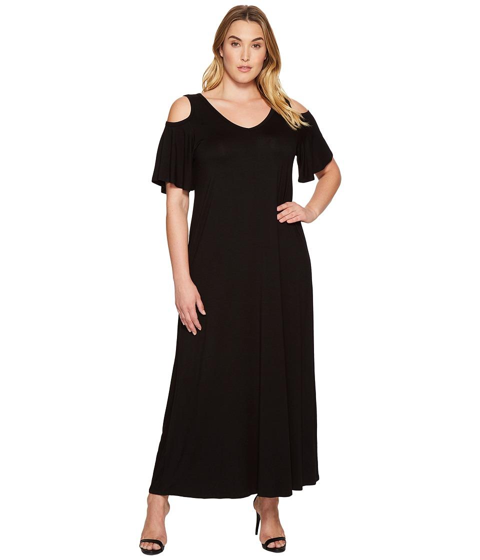 Karen Kane Plus Plus Size Cold Shoulder Maxi Dress (Black) Women