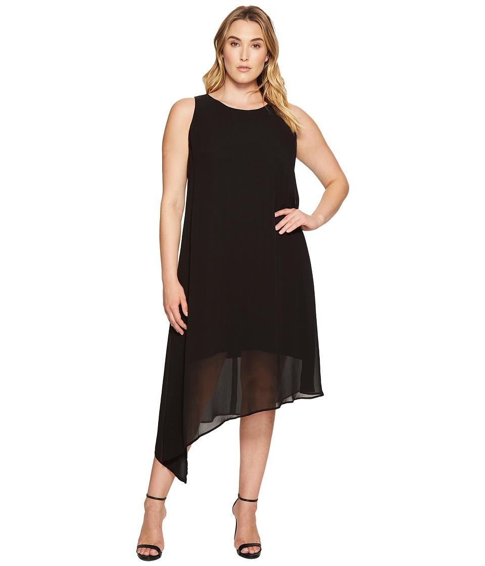 Karen Kane Plus Plus Size Asymmetric Overlay Dress (Black) Women