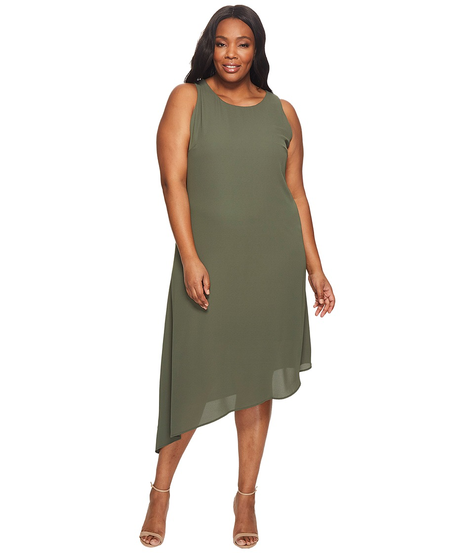 Karen Kane Plus - Plus Size Sheer Asymmetric Hem Dress (Olive) Women's Dress