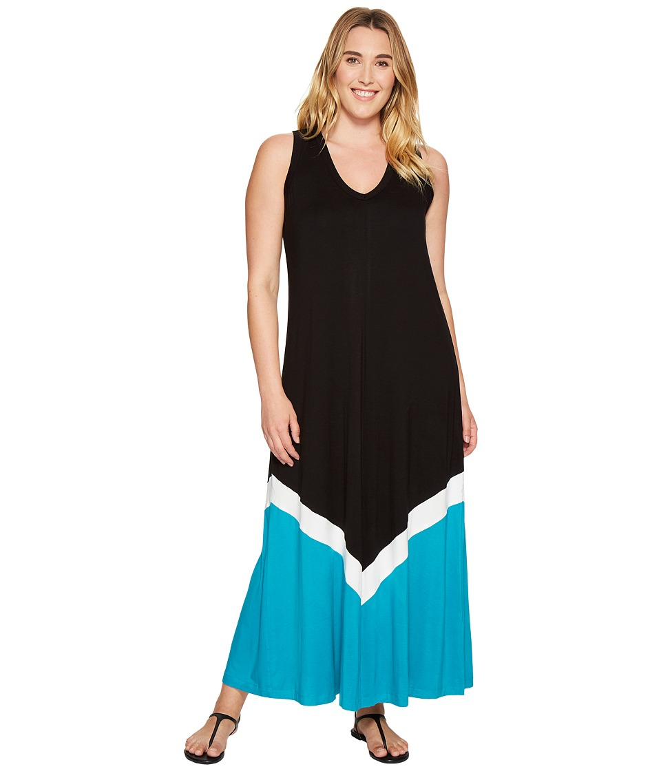 Karen Kane Plus - Plus Size Color Block Maxi Dress (Black/Turquoise) Women's Dress