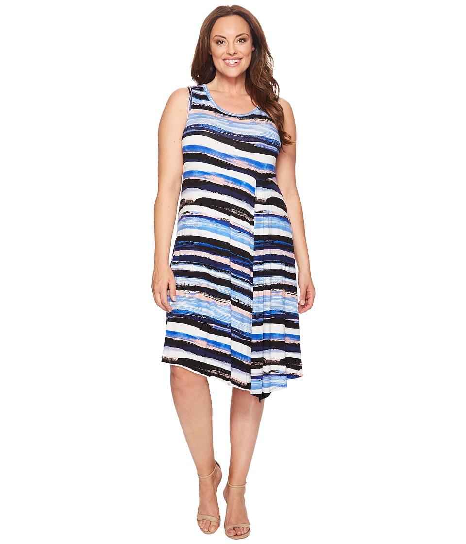 Karen Kane Plus - Plus Size Painted Stripe Side Drape Dress (Multicolor) Women's Dress