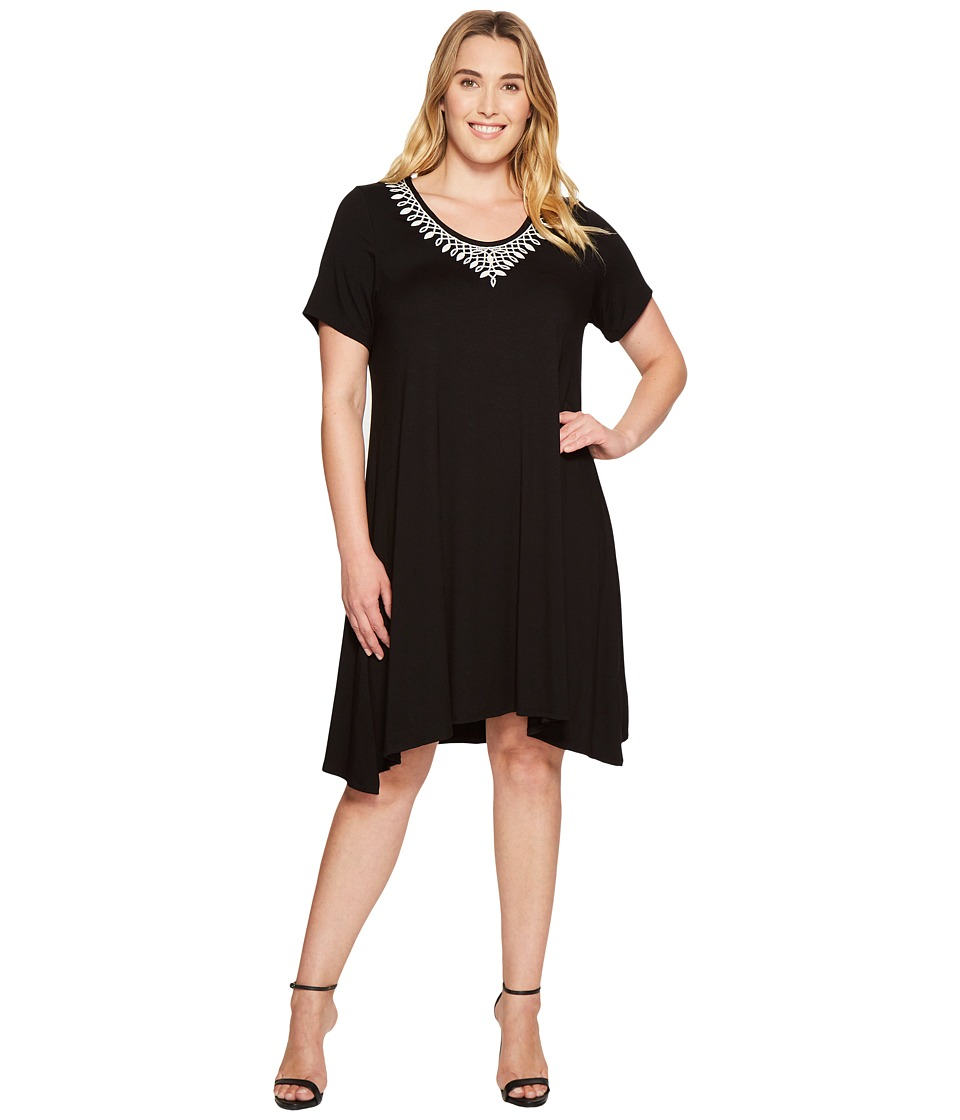 Karen Kane Plus - Plus Size Embroidered Handkerchief Dress (Black) Women's Dress