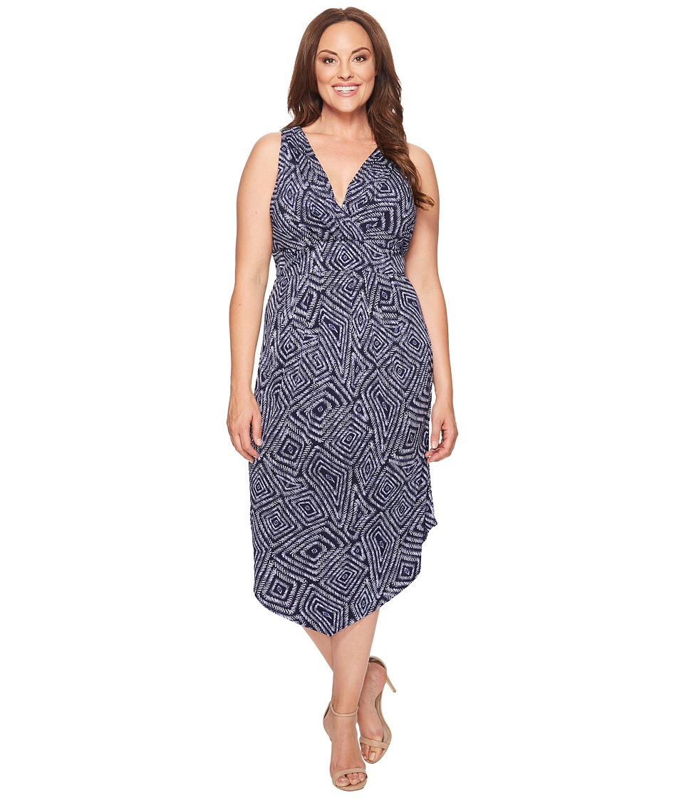 Karen Kane Plus Plus Size Asymmetric Maxi Dress (Print) Women