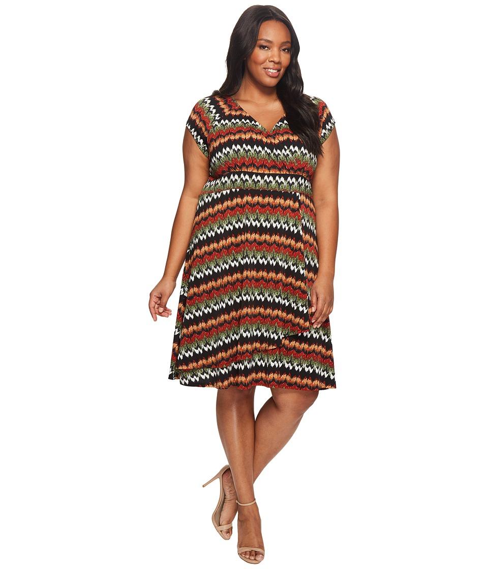 Karen Kane Plus - Plus Size Cascade Drape Dress (Print) Women's Dress