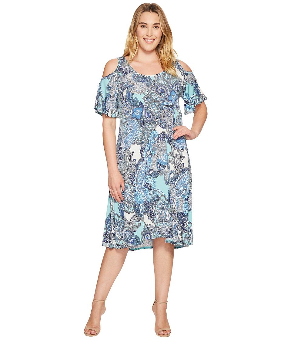 Karen Kane Plus - Plus Size Cold Shlouder Dress (Print) Women's Dress