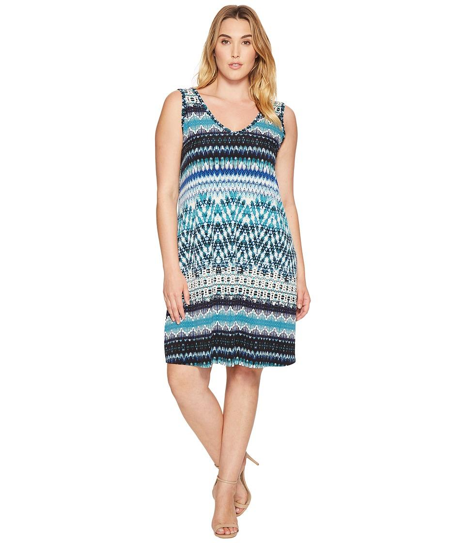 Karen Kane Plus - Plus Size Batik Stripe Bridgitte Dress (Print) Women's Dress