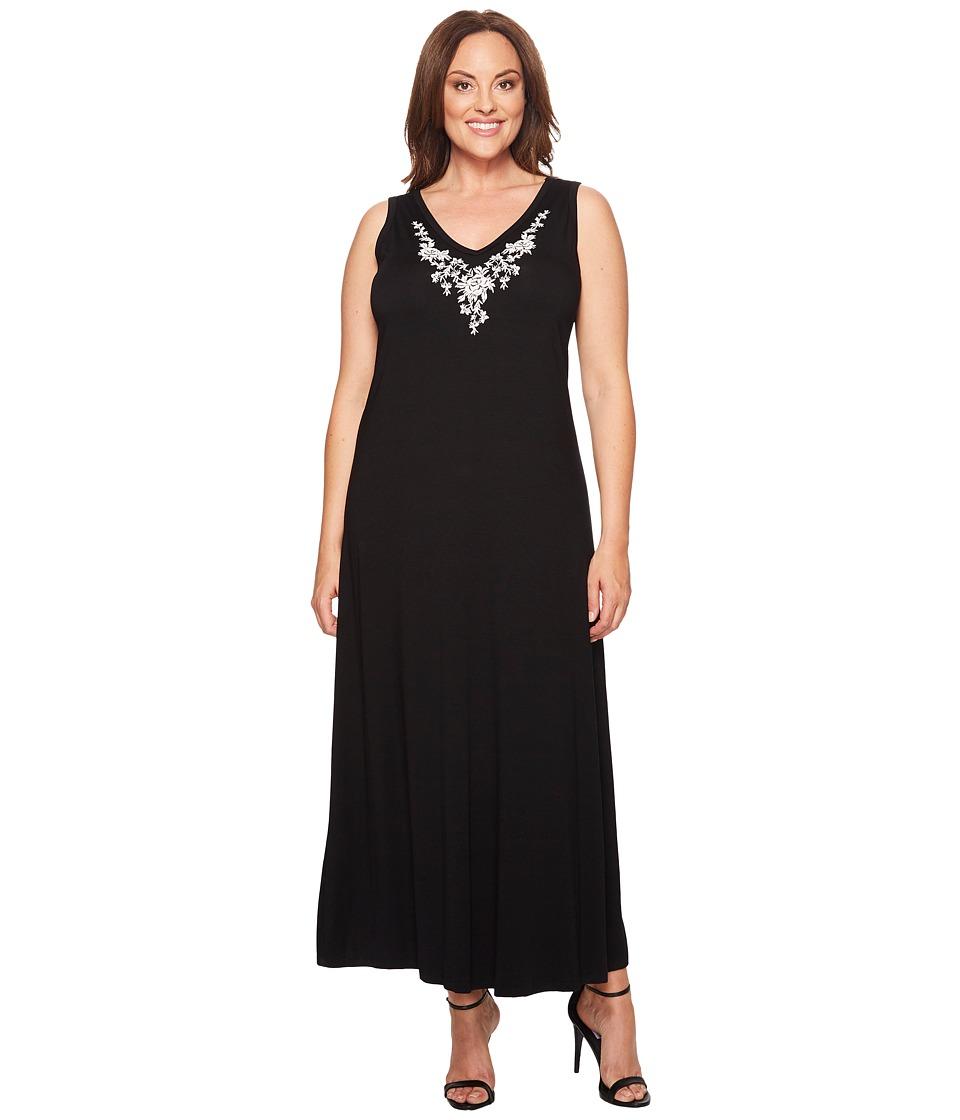Karen Kane Plus - Plus Size Embroidered Alana Maxi Dress (Black) Women's Dress
