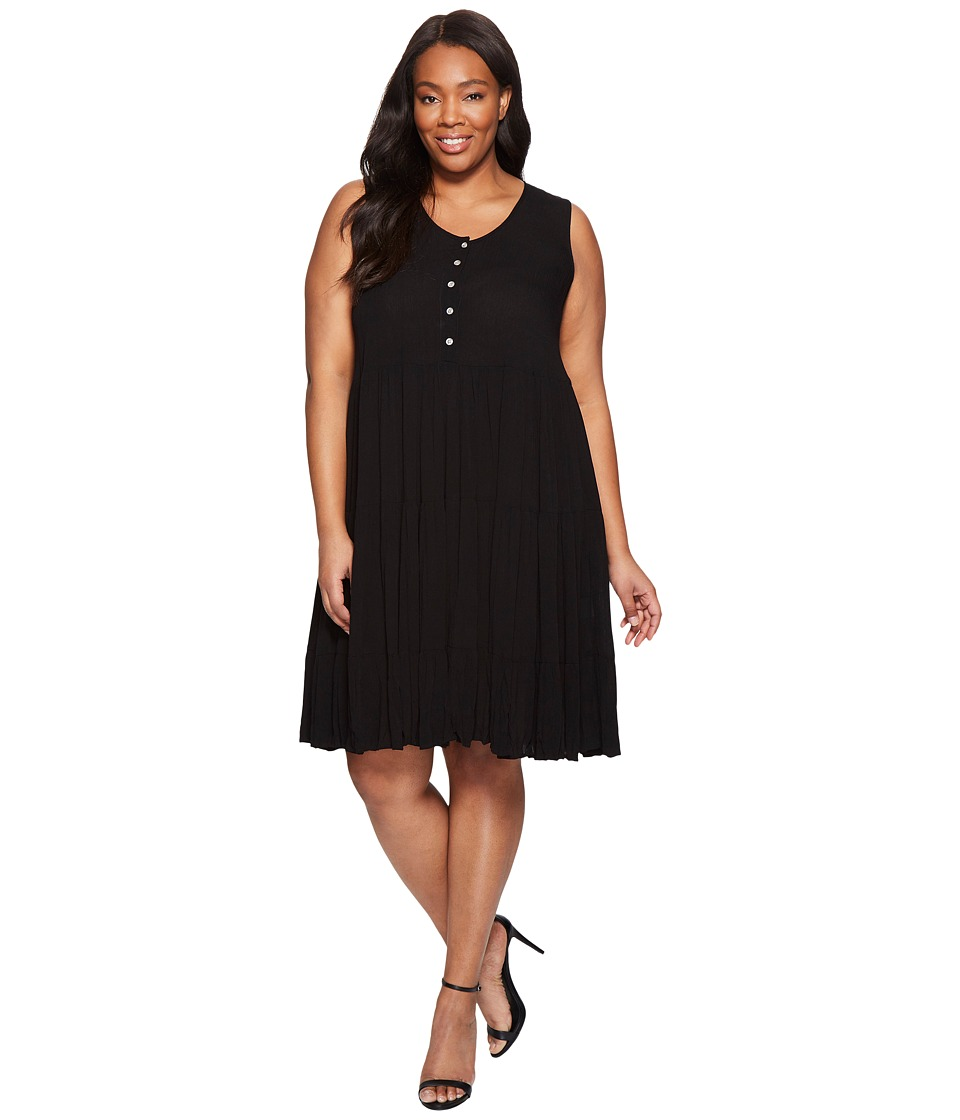 Karen Kane Plus - Plus Size Tiered Dress (Black) Women's Dress