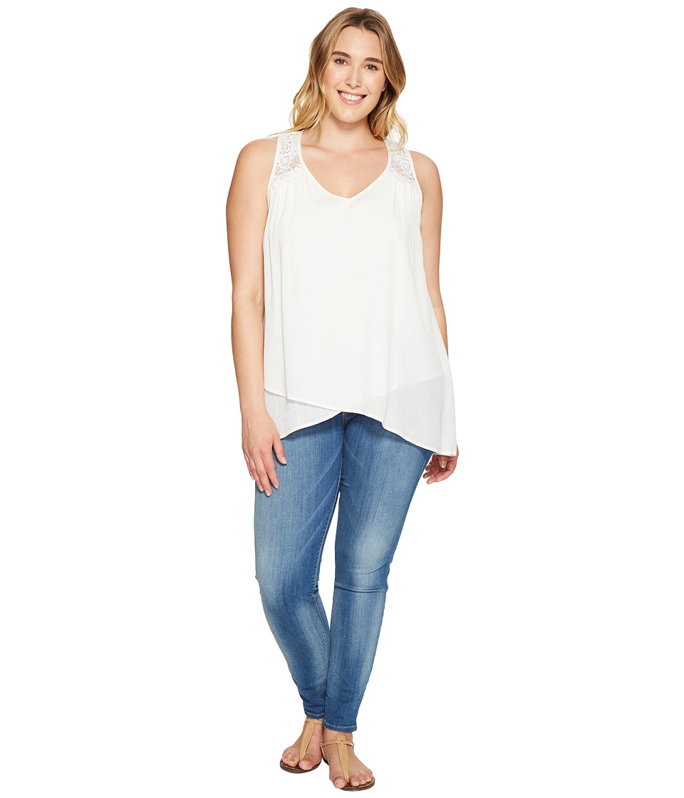 Karen Kane Plus - Plus Size Lace Yoke Crossover Top (Off-White) Women's Clothing
