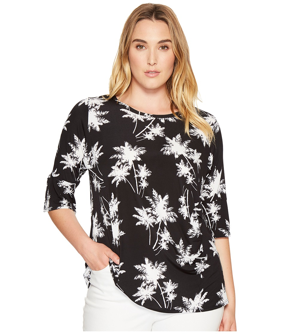 Karen Kane Plus - Plus Size Side Shirred Top (Print) Women's Clothing