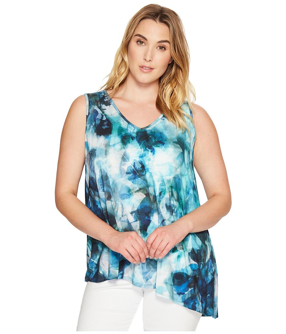 Karen Kane Plus - Plus Size Seaglass Asymmetric Top (Print) Women's Clothing