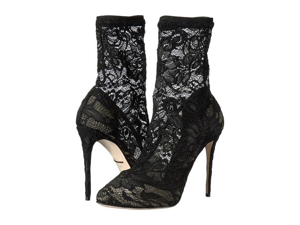 Dolce & Gabbana - Stretch Lace 105mm Bootie (Black) High Heels