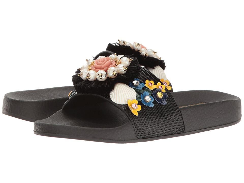 Dolce & Gabbana - St. Iguana/Jeweled Pool Slide (Black) Women's Sandals