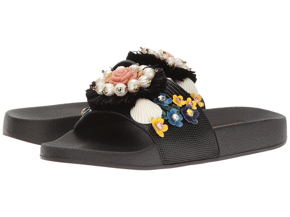 Dolce & Gabbana St. Iguana/Jeweled Pool Slide (Black) Women