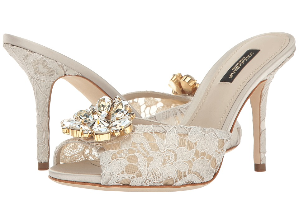 Dolce & Gabbana - Lace/Jeweled Rainbow Lace 85mm Slide (White) High Heels