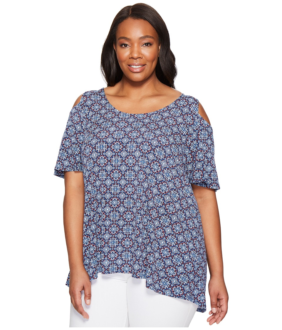 Karen Kane Plus - Plus Size Hi Lo Cold Shoulder Top (Print) Women's Clothing