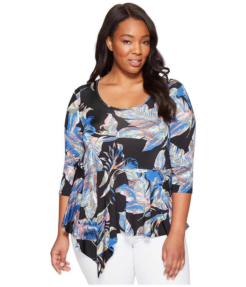 Karen Kane Plus - Plus Size Asymmetric Peplum Top (Multicolor) Women's Clothing