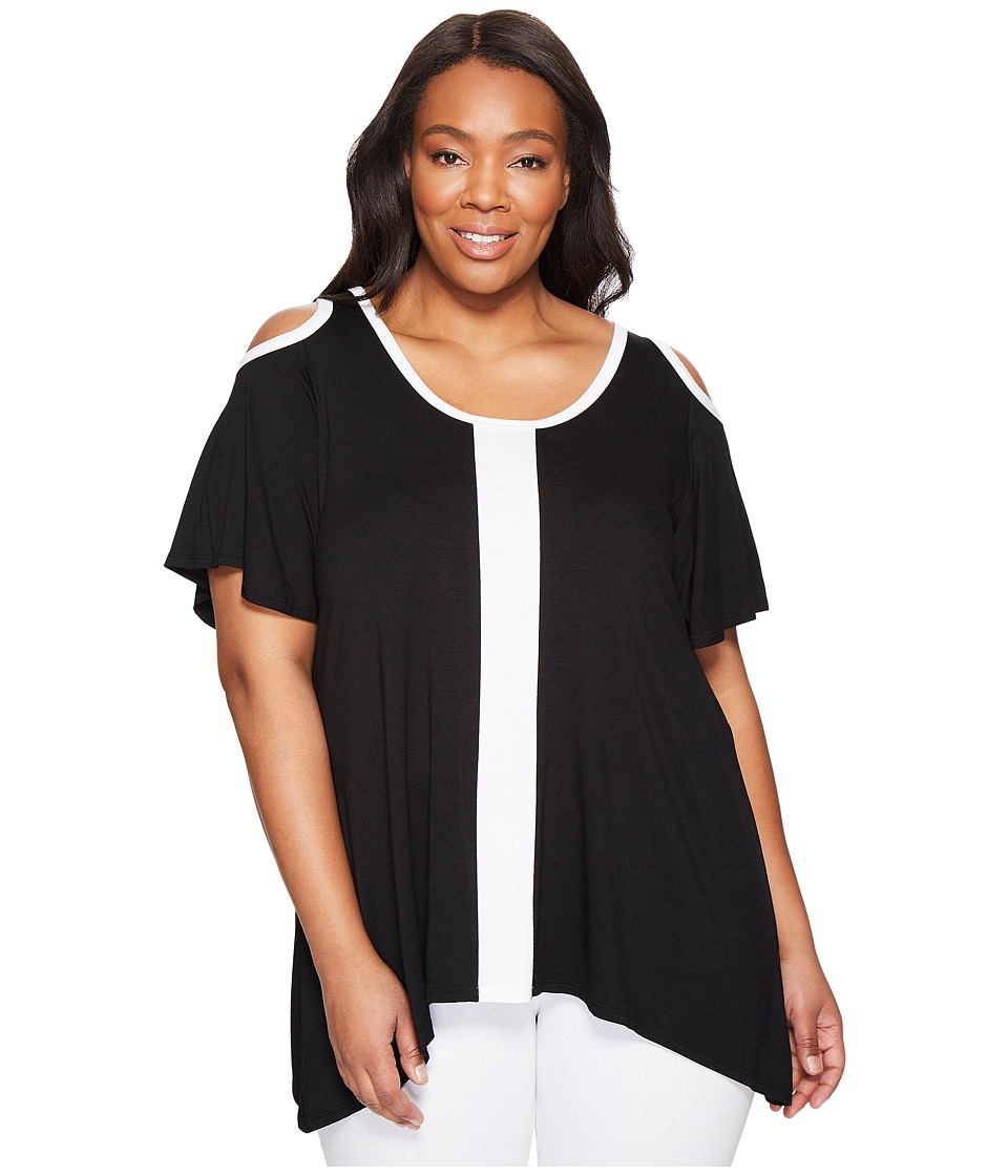 Karen Kane Plus - Plus Size Cold Shoulder Color Block Top (Black/Off-White) Women's Clothing