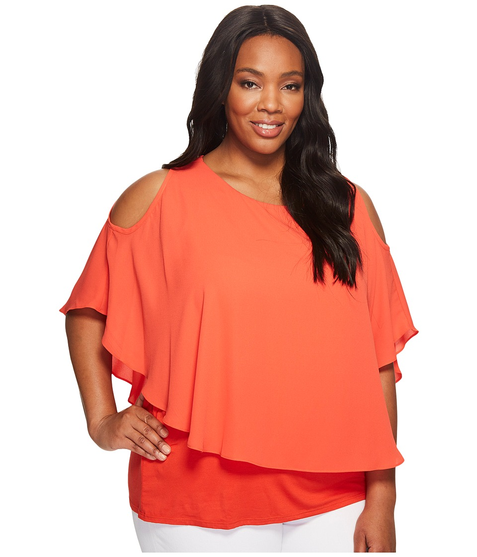 Karen Kane Plus - Plus Size Cold Shoulder Layered Top (Orange) Women's Clothing